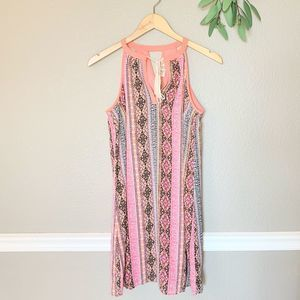 PINK ROSE Bright Sleeveless Tassel Shift Dress